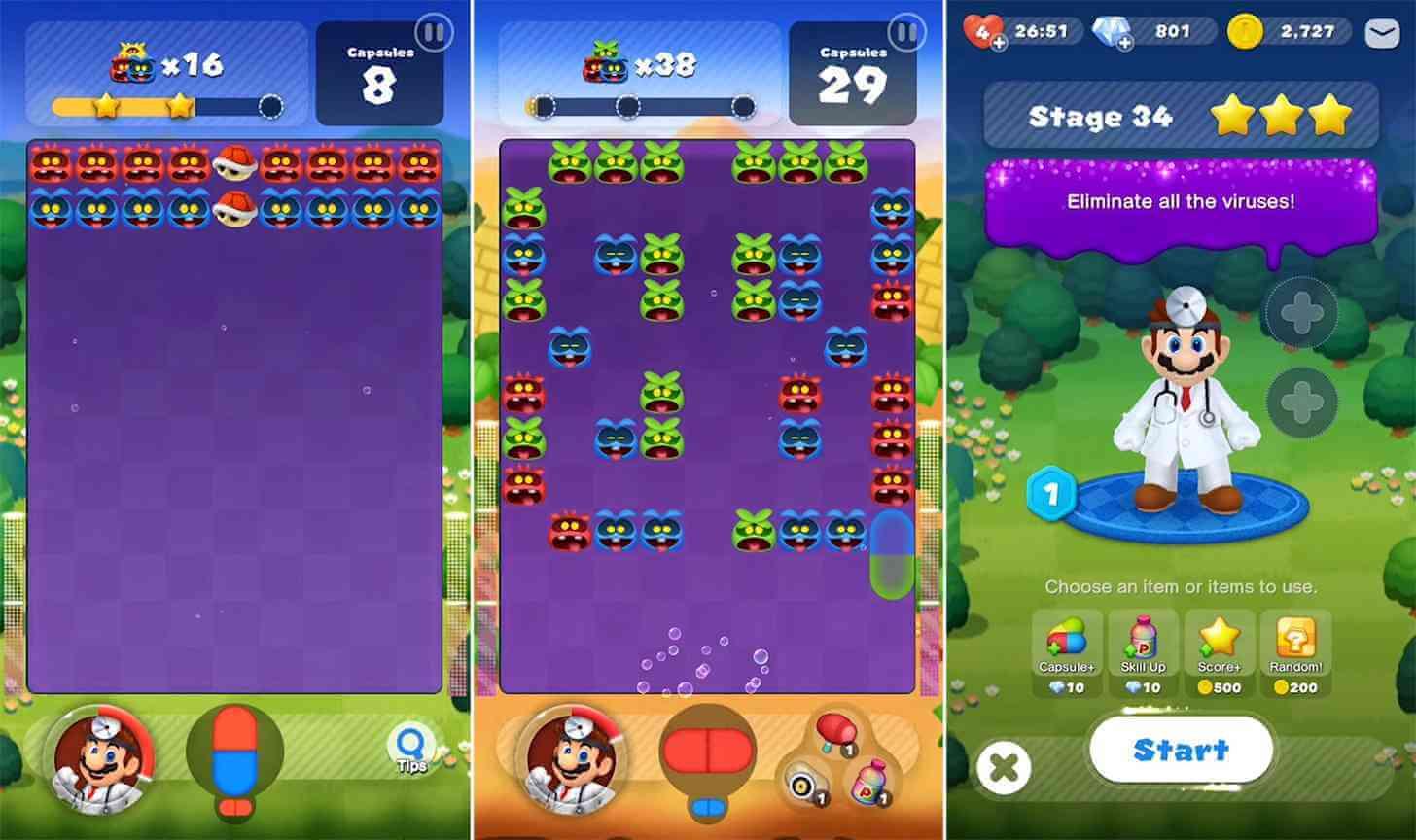 Скриншоты Dr. Mario World прекрасно отражают геймплей игры