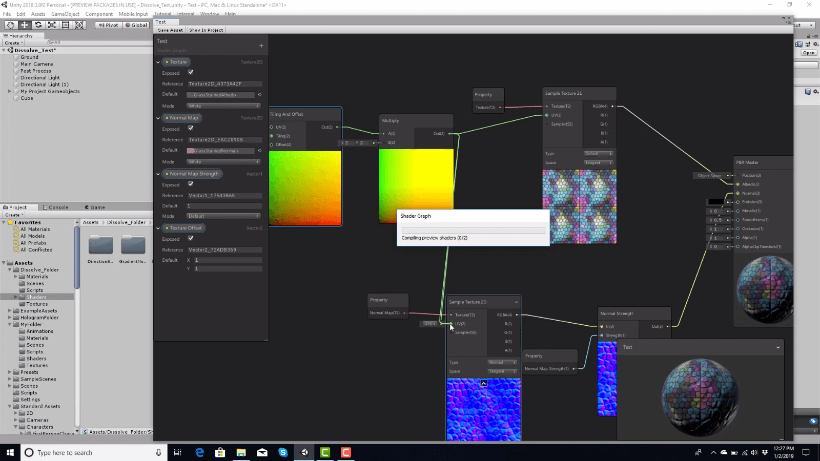 Интерфейс ShaderGraph в Unity3D